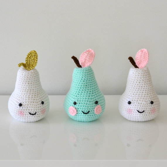 Crochet Pear  Baby Room Decrotive Frit U Baby Gift For Freind Baby Takephoto Use Rattle Toy