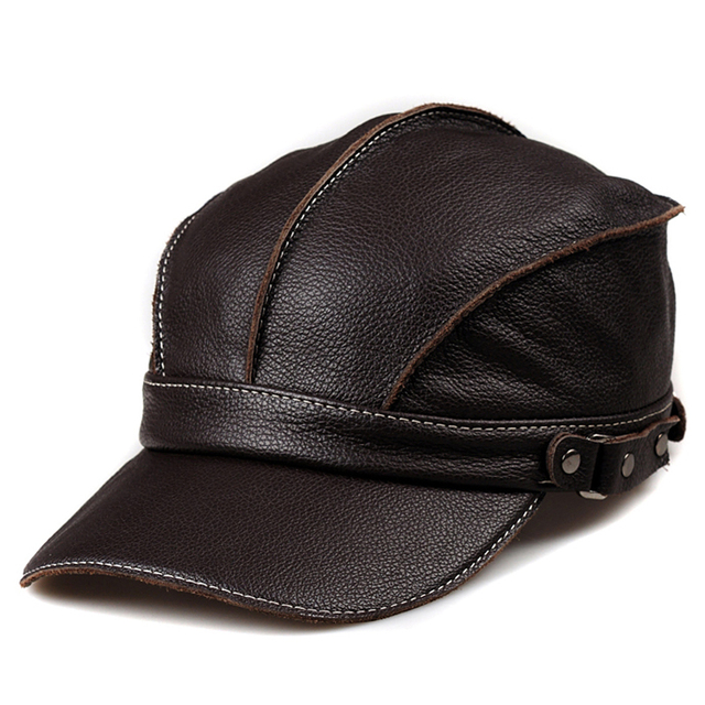 c24bd4b6fd1 Svadilfari Wholesale 2018 Winter Real Cowskin Men Casual Solid Baseball Hats  Ear Warm Leather Peaked Cap