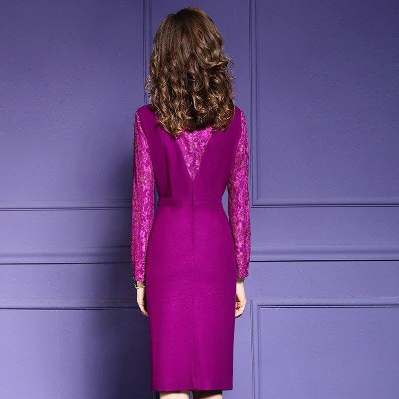 Robes Crayon Dentelle Robe Patchwork Vintage Fuchsia Hiver Supérieure New Lady Office La Parti Dames Qualité Taille Plus Femmes 2019 wwtTqd