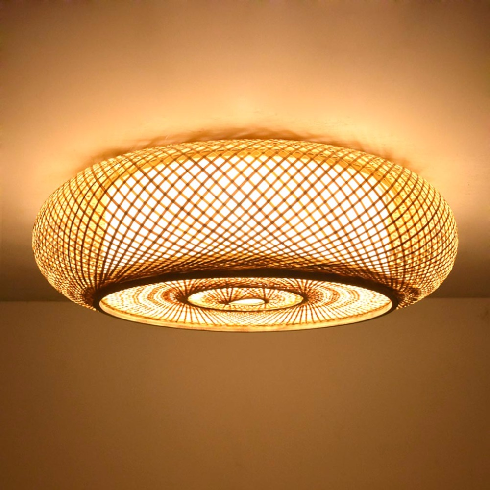 size 40 e57fe a888a US $138.55 32% OFF|Hand woven Bamboo Wicker Rattan Round Lantern Shade  Ceiling Light Fixture Rustic Asian Japanese Plafon Lamp Bedroom Living  Room-in ...