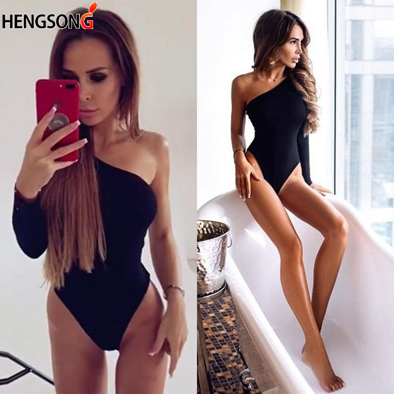Female Summer Beach Wear Black Women Bodysuit One Shoulder Rompers Long Sleeve Off The Shoulder Bodysuits Overalls For Women
