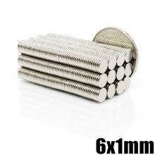 50/100/200/500 шт 6 мм X 1 мм Сильный цилиндр редкоземельный магнит 6X1 неодимовый магнит оптом лист N35 мини маленькие круглые магниты диски 6*1 мм