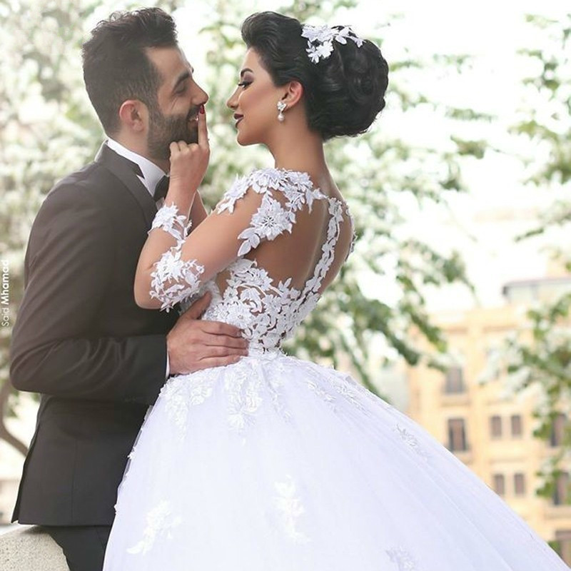 2019 Ball Gown Long Sleeve Lace Tulle Elegant Formal Sweetheart Gorgeous Bride Wedding Dresses in Wedding Dresses from Weddings Events