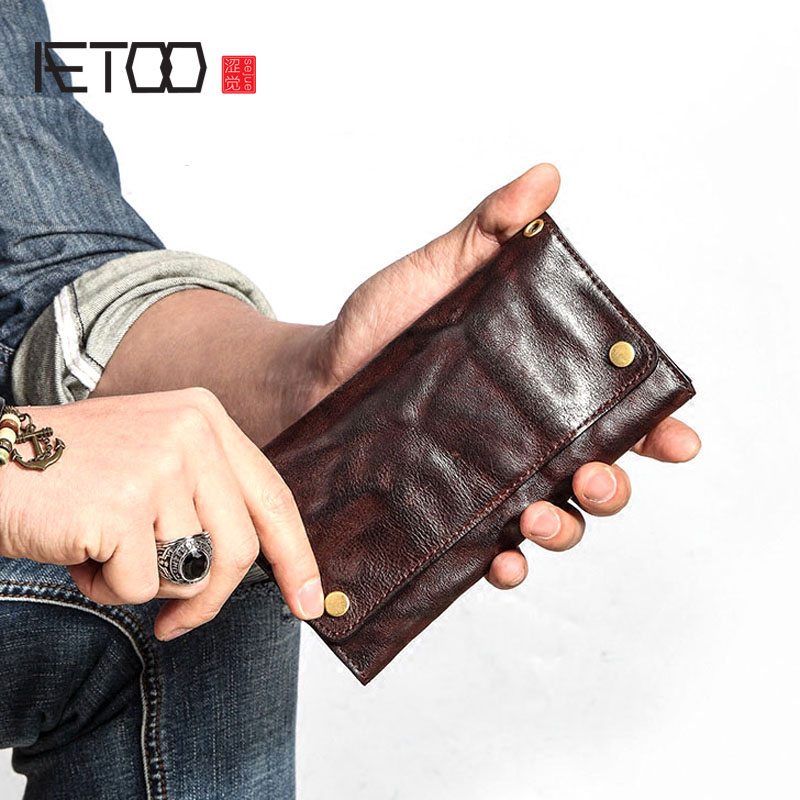 MenS Casual Art Youth Zipper Phone Bag Ultra-Thin Soft Leather Wallet Vintage Leather Handmade Long Wallet