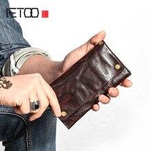 AETOO Ретро кошелек мужской длинный участок молодой прилив ультра-тонкий мягкий Doka бит кожа Япония и Южная Корея личность полная кожа