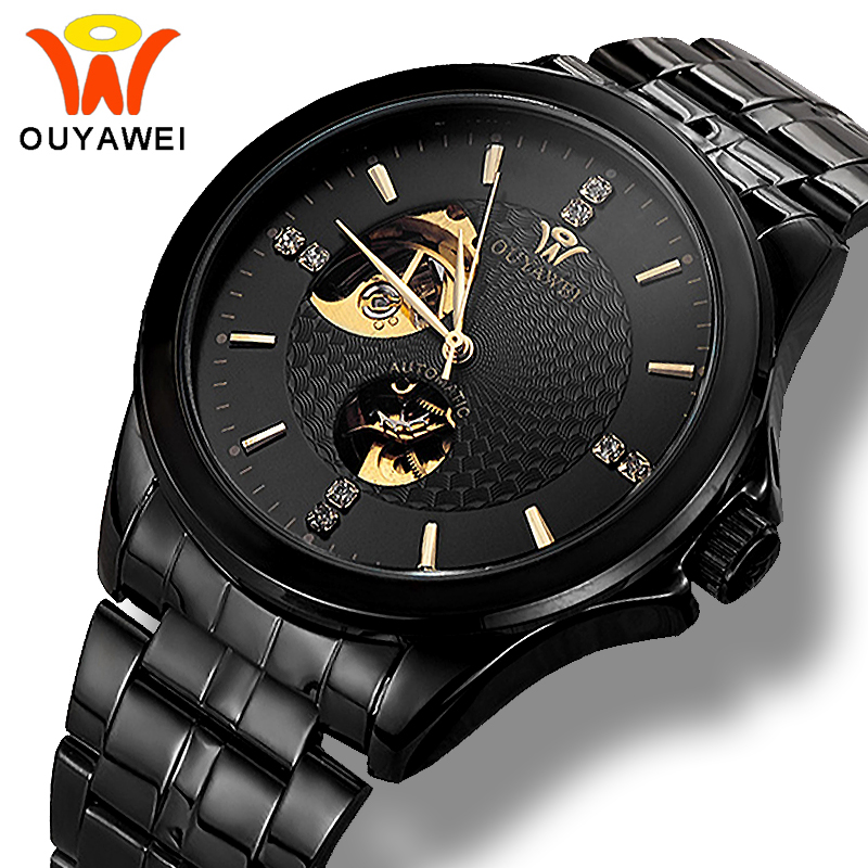 Ouyawei Black Metal Automatic Watch Men Clock Mechanical Skeleton Watches Diamond Steel Wristwatch relogio automatico masculino
