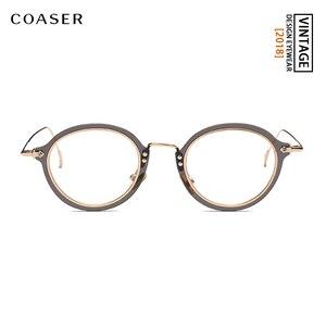 Image 2 - COASER Fashion Retro Eyeglasses Men Women Vintage Metal Optical Transparent Glasses Frame Reading Glasses Myopia Eyewear Oculos