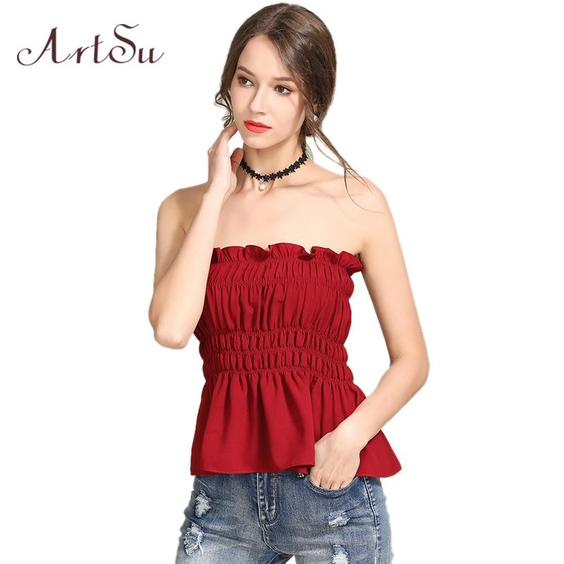 ArtSu Summer Off Shoulder Crop Top Black Ruffle Strapless Fitness Women Tank Top Sexy Streetwear Bralette Cami Top Red ASVE20206
