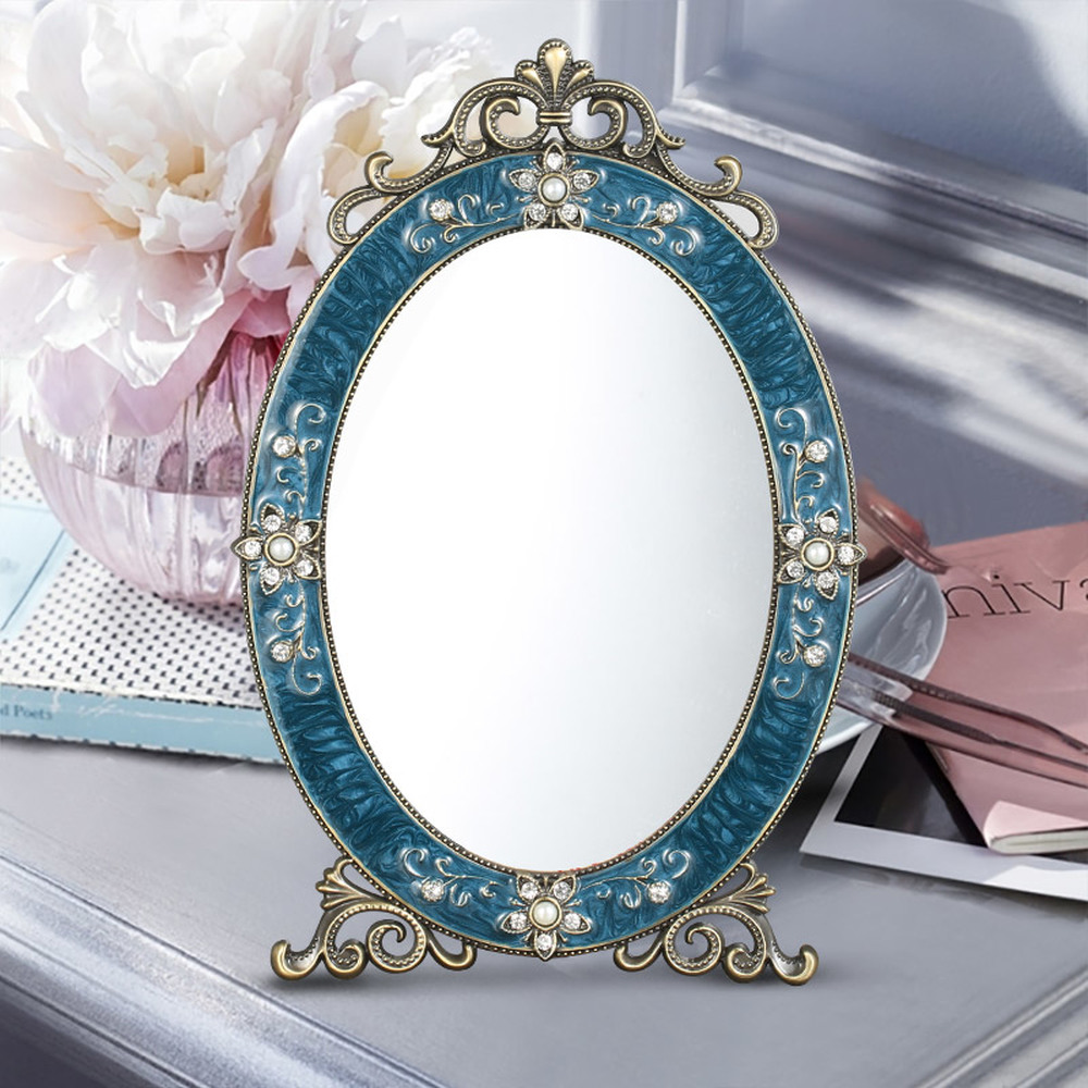 Mirror makeup mirror table Continental metal princess vanity mirror single side Student dormitory HD table mirror LO7271023