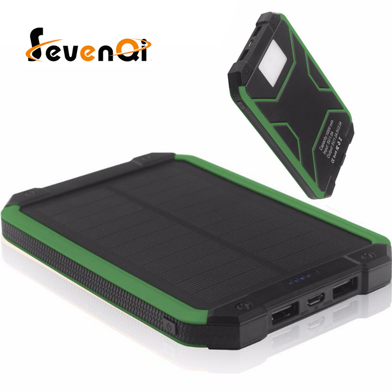 imágenes para Portable Solar Power Bank 20000 MAH externa bateria portatil LED Dual USB Powerbank Teléfono Móvil Cargador de Batería de Reserva Externa