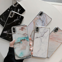 Marble Phone Case For iPhone 6 6S 7 8 Plus PC Hard Plating Frame Back Cover For iPhone X XR XS MAX Coque Pattern Anti-knock Case стоимость