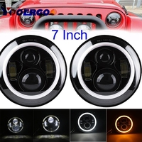 7 LED Headlights Bulb With White Halo Angel Eye Ring DRL Amber Turn Signal Lights For