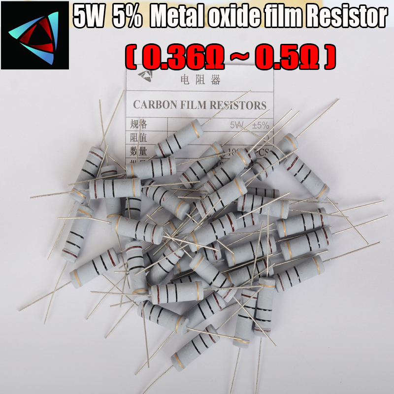 5PCS 5% 5W Metal Oxide Film Resistor 0.36 0.39 0.43 0.47 0.5 Ohm Carbon Film Resistor