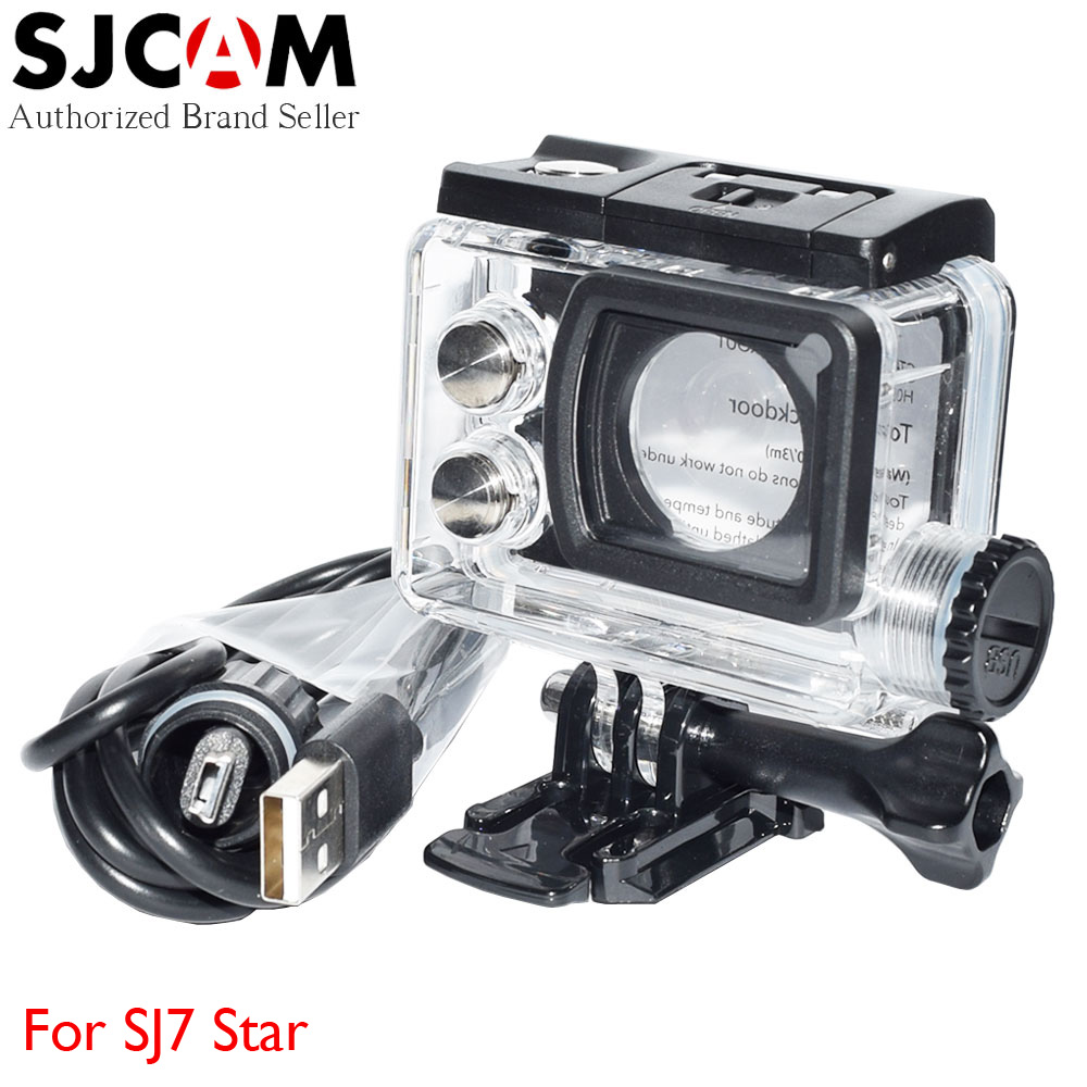 Original SJCAM SJ7 Star Motorcycle Waterproof Case Housing with Touch Backdoor and USB Cable for SJ CAM 7 4K Sport Action Camera original sjcam car charger microphone remote watch monopod motorcycle waterproof case dual charger for sj sj7 star action camera