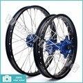 "1.6x21"" 2.15x19"" Front Rear MX Black Wheel Rim Blue Hub for HUSABERG FE FC ALL MODEL 04 05 06 07 08 09 10 11 12 13 14"