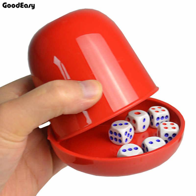 Conjunto de dados de plástico do poker, jogo de tabuleiro com bandeja/tampa 6 dados, copo balançar, caixa de dados do casamento logotipo personalizado e cor