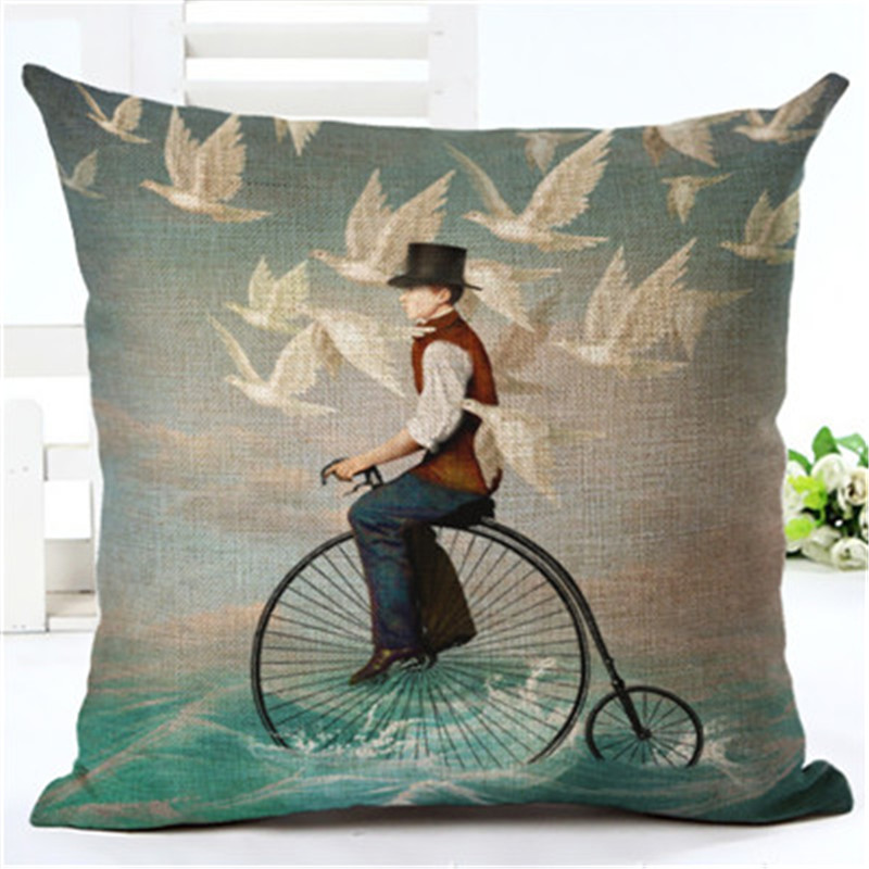 New Arrive Hot Selling Classical Peolple Printing Linen Cotton Cushion Cover Throw Pillow Sofa Pillow Cojines