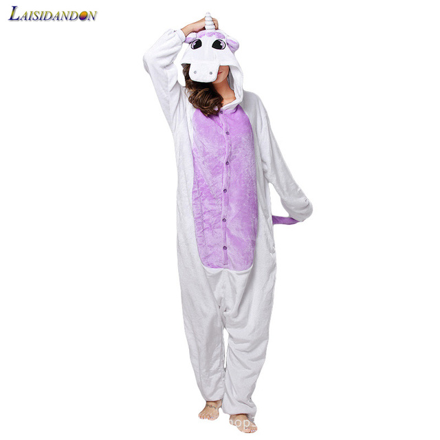 156f42563b Nueva franela estrella del arco iris Unicornio pijamas Kigurumi Unisex  adulto Onesie Cosplay traje de noche. Sitúa el cursor encima para ...