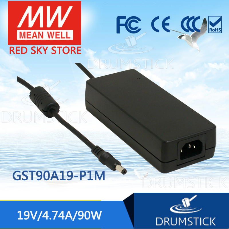 100% Original MEAN WELL GST90A19-P1M 19V 4.74A meanwell GST90A 19V 90W AC-DC High Reliability Industrial Adaptor 1mean well original gsm160a24 r7b 24v 6 67a meanwell gsm160a 24v 160w ac dc high reliability medical adaptor