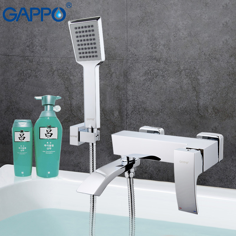 GAPPO Bathtub faucet mixer bath bathroom sink shower faucets tap brass mixer torneira bathtub sink tap hand shower head set ledeme chrome plated bathroom bathtub faucets mixer shower set tap with hand brass bathroom bathtub faucet shower head set l2049