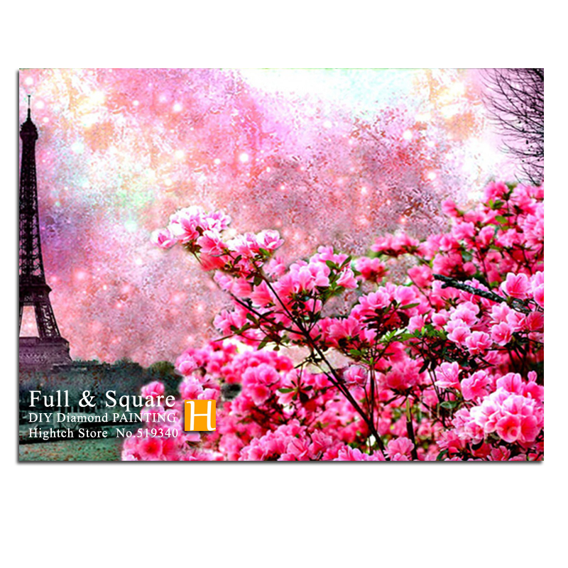 Online Eiffel Tower Rubik S Cube Diamond Painting Mosaic Rose Pink Flowers Cross Sch Needlework 5d Embroidery Flower Patches Aliexpress