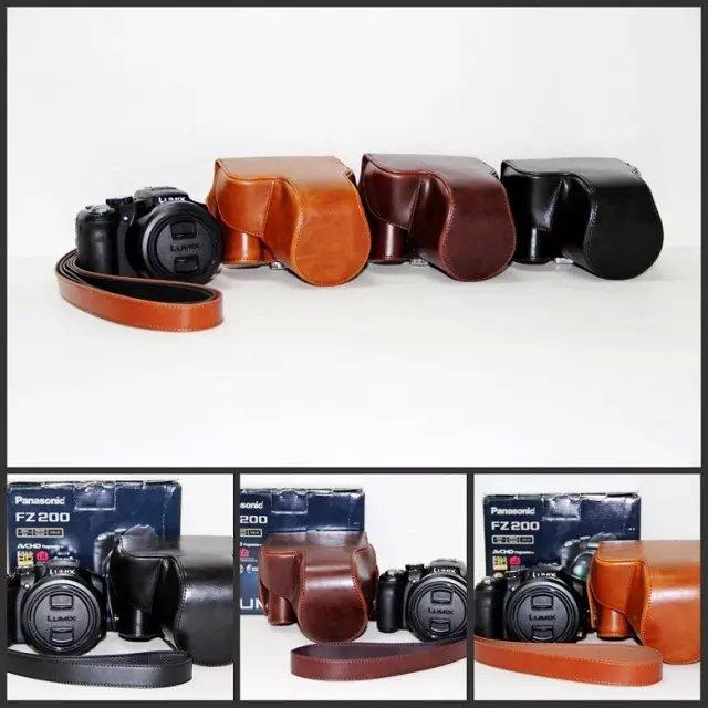 Pu leder kamera tasche hülle tasche für panasonic lumix dmc-fz200 fz200 mit...