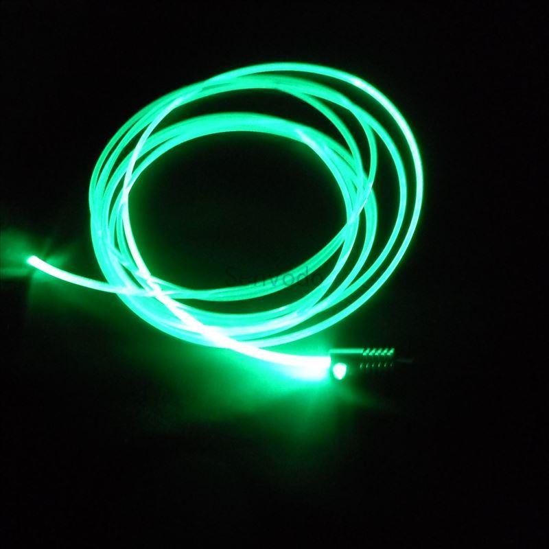 Рекламные сторона свечение твердое ядро Пластик PMMA волокно + DC12V вход 2 Вт маленький размер Оптическое волокно осветитель с 3 мм диаметр