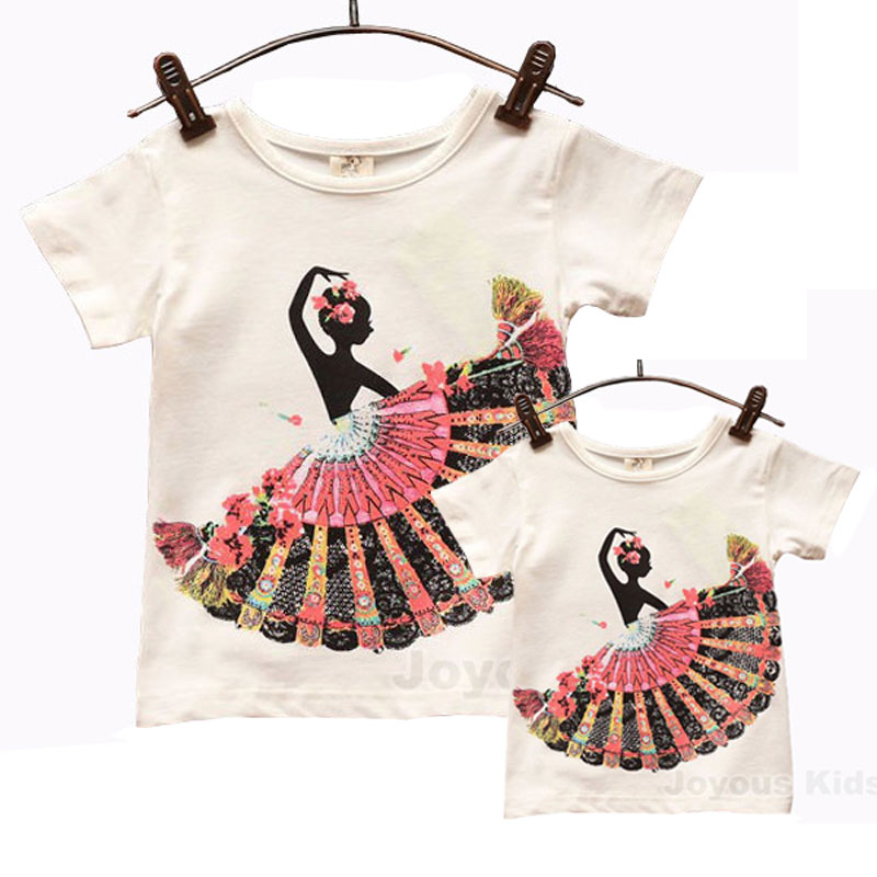 New Family Matching mother daughter clothes Family clothing fashion summer short-sleeve peafowl flower dancing girl Tee shirt