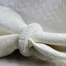 Белый жемчуг салфетка с цветами кольца из бисера Свадебные оптом, салфетница