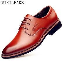 708e55f32 2019 Designer De Marca De Luxo Mens Sapatos de Couro Genuíno Pontas Do Dedo  Do Pé Dos Homens Sapatos de Casamento Festa Sapatos .