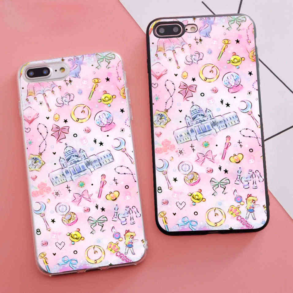 Minason 2018 Tritone Sailor Moon Dilengkapi S untuk iPhone X 11 Pro 5S XR X Max SE 6 S 6 S 7 7 Plus 7 Plus Cover Shell