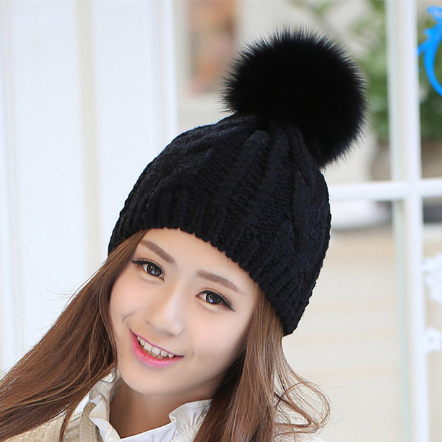 Oversize Fox Fur Pompoms Women Hats Knitted Winter Skullies & Beanies Cable Knit Caps with Plus Balls Solid Color Female Beanie