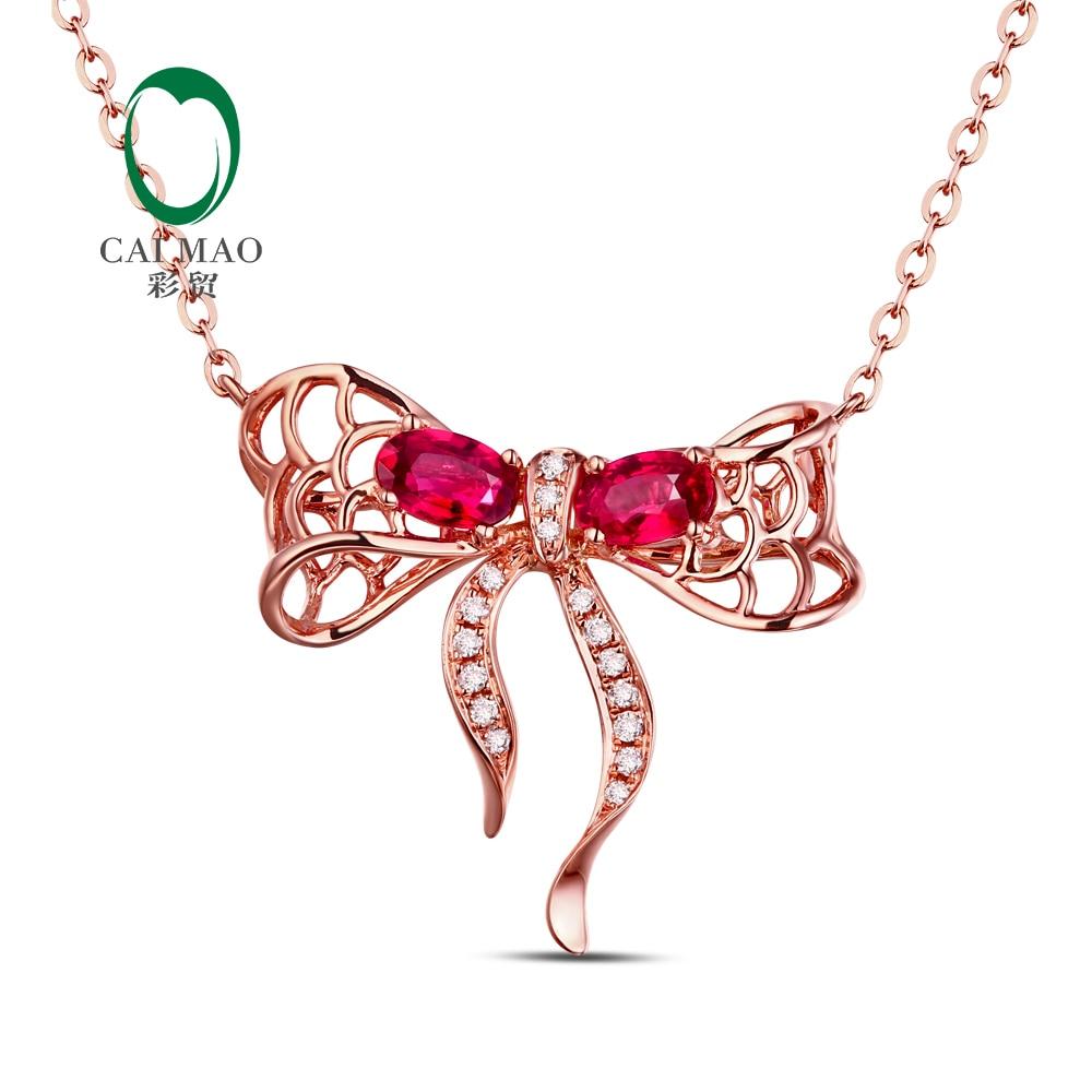 18 K Rose Gold Natürliche 0.58ct Rubin & 0.08ct Diamanten Engagement Kette Anhänger Von Der Konsumierenden öFfentlichkeit Hoch Gelobt Und GeschäTzt Zu Werden