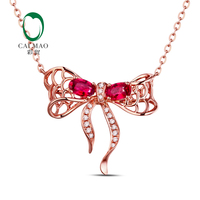 18k Rose Gold Natural 0.58ct Ruby & 0.08ct Diamonds Engagement Chain Pendant