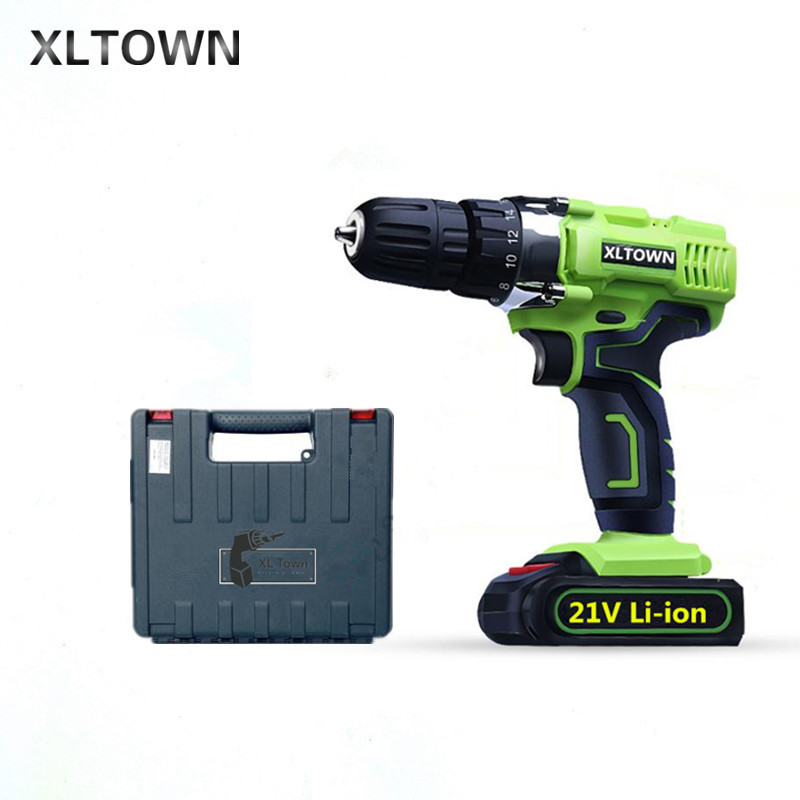 XLTOWN 21V electric screwdriver with a box rechargeable lithium battery electric screwdriver household cordless drill power Tool цена
