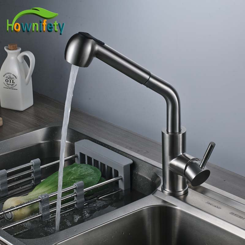 Brushed Nickle Kitchen Faucet Single Handle Hot&Cold Faucet Steam And Sprayer Head Pull Out Mixer Faucet