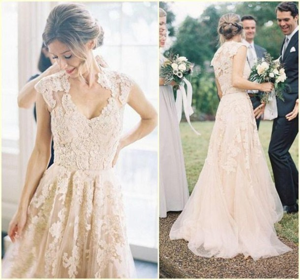 2018 Vestido De Noiva Arrival Country Style Cap Sleeve V Neck Colored Lace Appliques Bridal Gown Mother Of The Bride Dresses