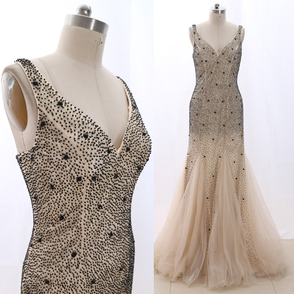 MACloth Champagne Mermaid V Neck Floor-Length Long Crystal Tulle   Prom     Dresses     Dress   L 266050 Clearance
