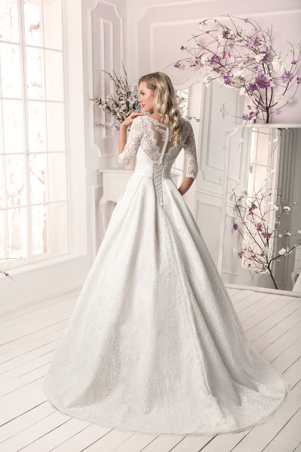 Custom vestido de noiva A Line Three Quarter Sleeve With Detachable Jacket 2018 Lace bridal gown mother of the bride dresses in Mother of the Bride Dresses from Weddings Events