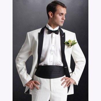 White Groom Mens Suits Tuxedos 2018 Groomsmen Wedding Party black lapel Men Suit Blazer terno masculino (Jacket+Pants+Girdle)