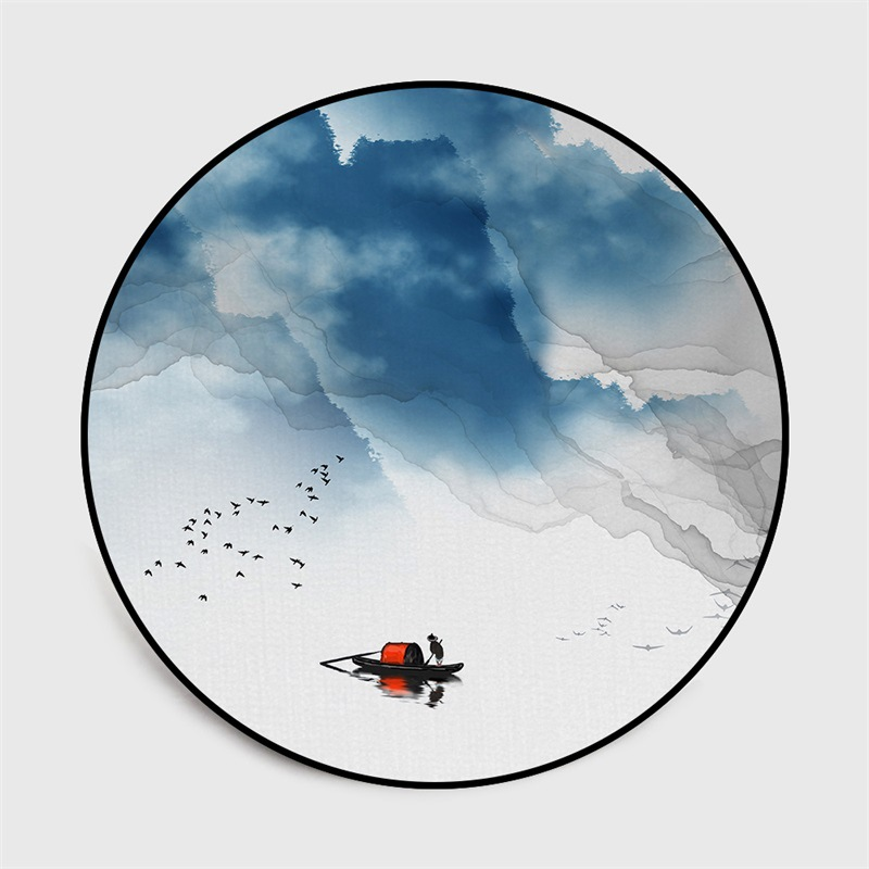 Image 5 - Chinese classical style abstract blue Mountain ink painting  carpet Bedroom living room round floor mat non slip rug custom madeMat