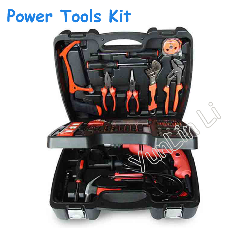 138pcs Three Layers Home Electric Drill Combination Multi-Function Power Tools Kit DIY Tools Electric Impact Drill Set high power electric 13mm impact drill multi function open whole electric 710w carved wood molding type strong drill