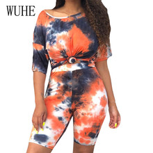 WUHE Plus Size XXL O Collar Half Sleeve Retro Two Piece Set Playsuits Elegant Printed Casual Jumpsuits Summer Roupas Feminina