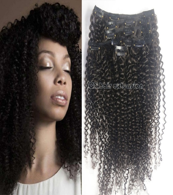 """14 """" 16 """" 18 """" 20 """" 120 g suave extensiones remy brasileñas del pelo humano clip en afo rizada rizada extensiones de cabello"""