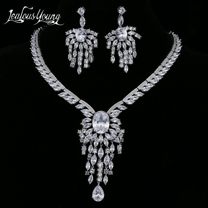 Luxury Marquise Cubic Zicon Bridal Jewelry Sets For Women Earrings & Necklace White Gold Color African Beads Jewelry Set AS151 цена 2017
