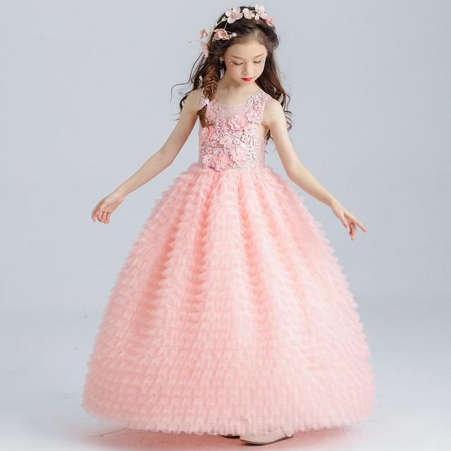 b51a7912 Largo Rosa niñas Vestido elegante apliques flor chica Vestido para fiesta  2018 ropa 4 6 8