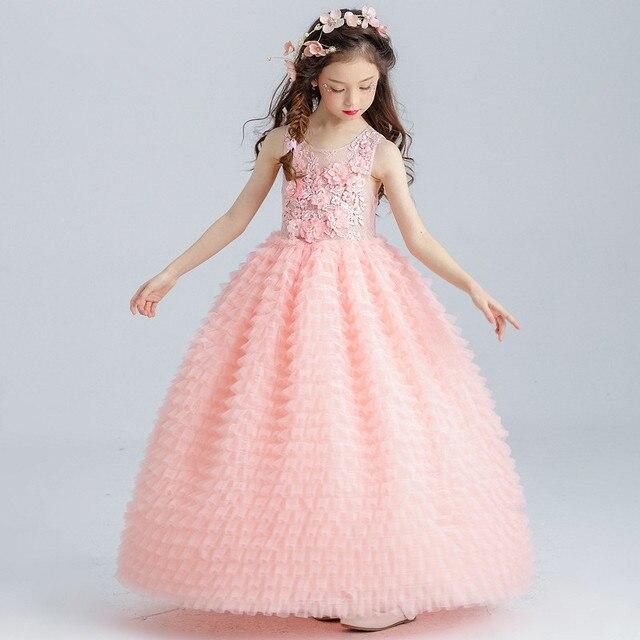 45f60437fd1e Lungo Rosa Delle Ragazze Del Vestito Abito di Sfera Elegante Appliques Del  Fiore Della Ragazza Vestido