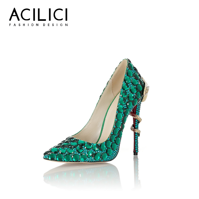 Diamond Pumps Heel Women Shoes Bling-Bling Snake-Shaped Pointed-Toe Genuine-Leather Fashion