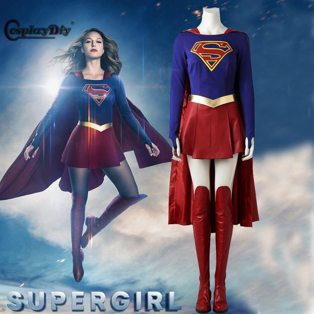 Cosplaydiy Supergirl Costume Cosplay Outfit 2017 Superhero SuperGirl Kara Zor El Danvers Halloween Costumes Jumpsuit Skirt Cape