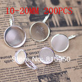Wholesale 200pcs Tray size 10-20mm silver plated brass round Drop Earrings cameo cabochons base settings Finding